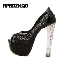 High Heels Mesh Fish Mouth Shoes Extreme Transparent Platform 14cm 6 Inch Gold Block Pumps Summer Women Pull On Sexy Casual Mesh