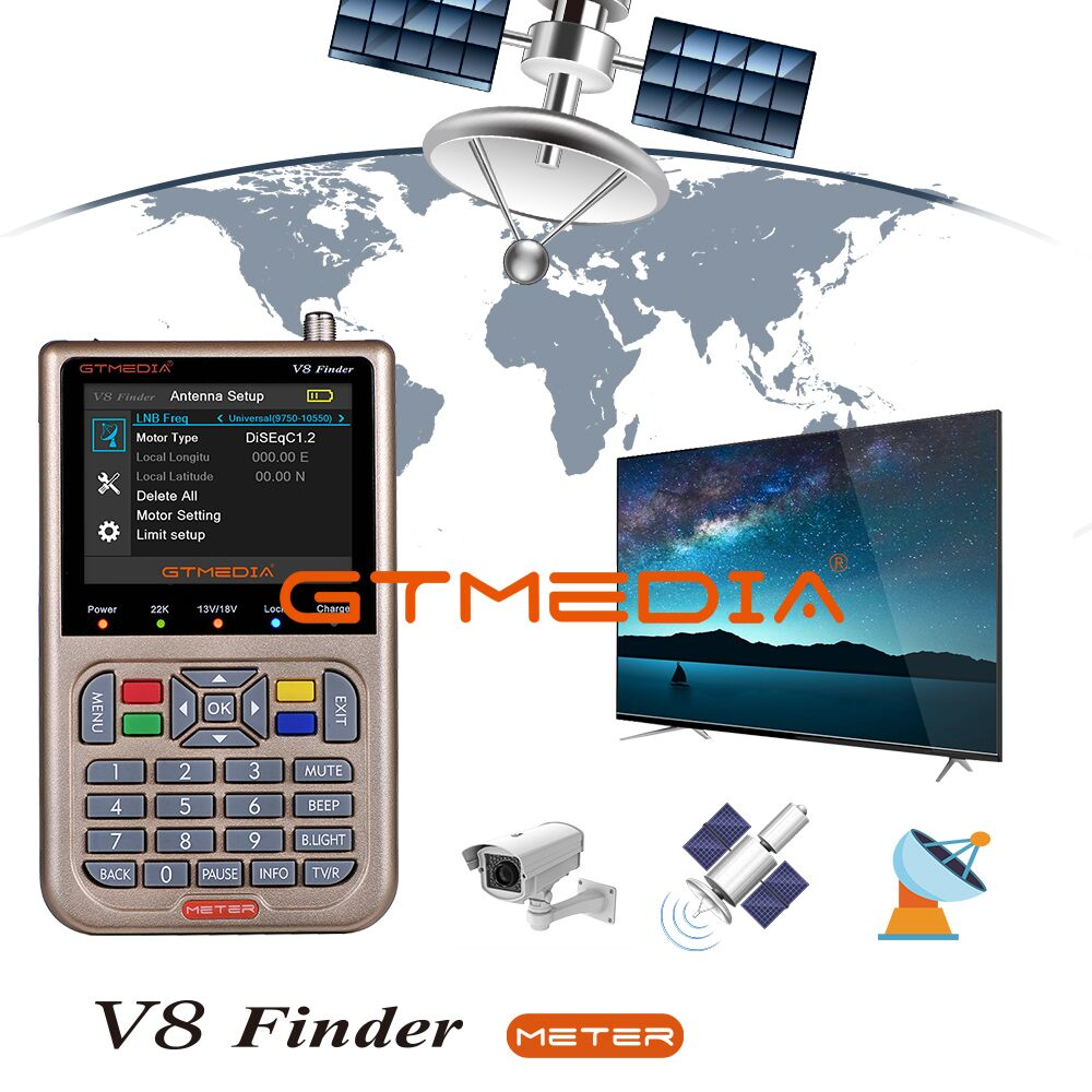 GTMEDIA/Freesat V8 Finder HD 1080P DVB S2 3.5' screen Digital Satellite Finder High Definition Sat Finder Satellite Meter finder