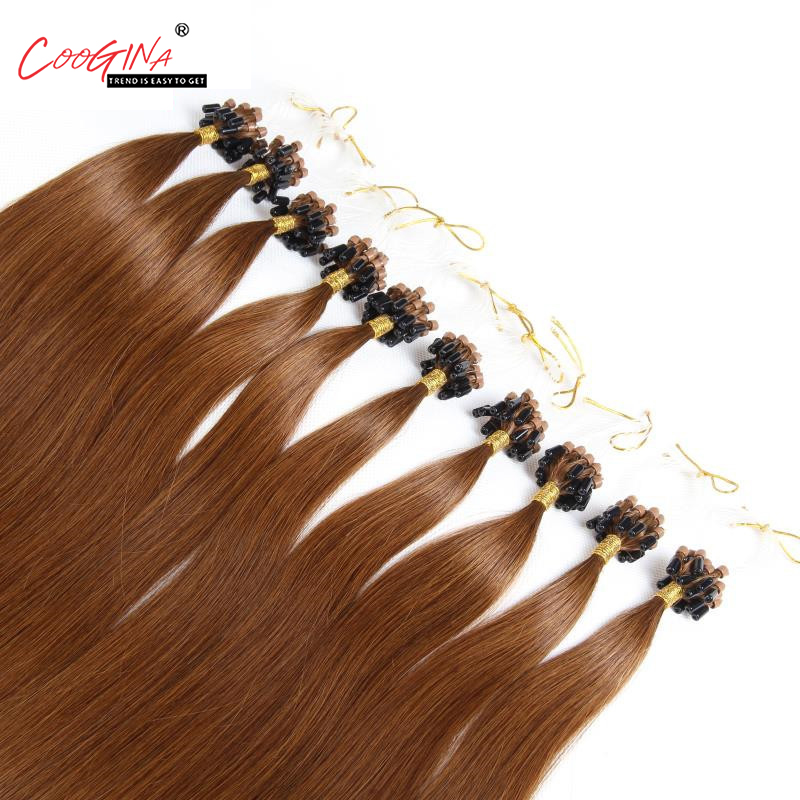 Coogina Women Micro Loop Ring Hair Extension Remy Micro Bead Hair Extensions 1g/strand Micro Link Human Hair Salon Free Shipping
