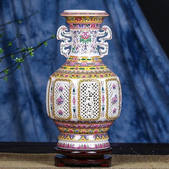 Antique Jingdezhen Ceramic Vase Qianlong Pastel Blue And White