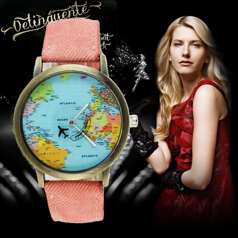 Gemixi Drop Shipping Fashion Global Travel By Plane Map Women Dress Watch Denim Fabric Band Womens Watch Apr30hy Watches