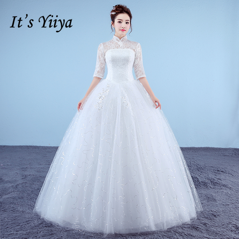 It's Yiiya Plus Size New High Neck Half Sleeves Sequins A-line Wedding Dresses Red White Simple Lace Cheap Bride Frocks XXN180