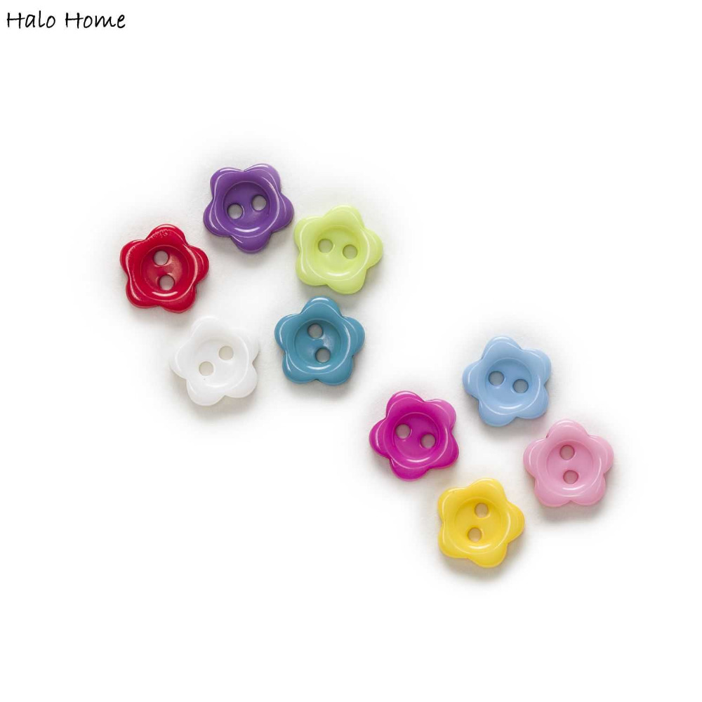 100pcs Mixed Color 2 Hole Flower Resin Buttons Clothing Home Decor Sewing Scrapbooking 10mm