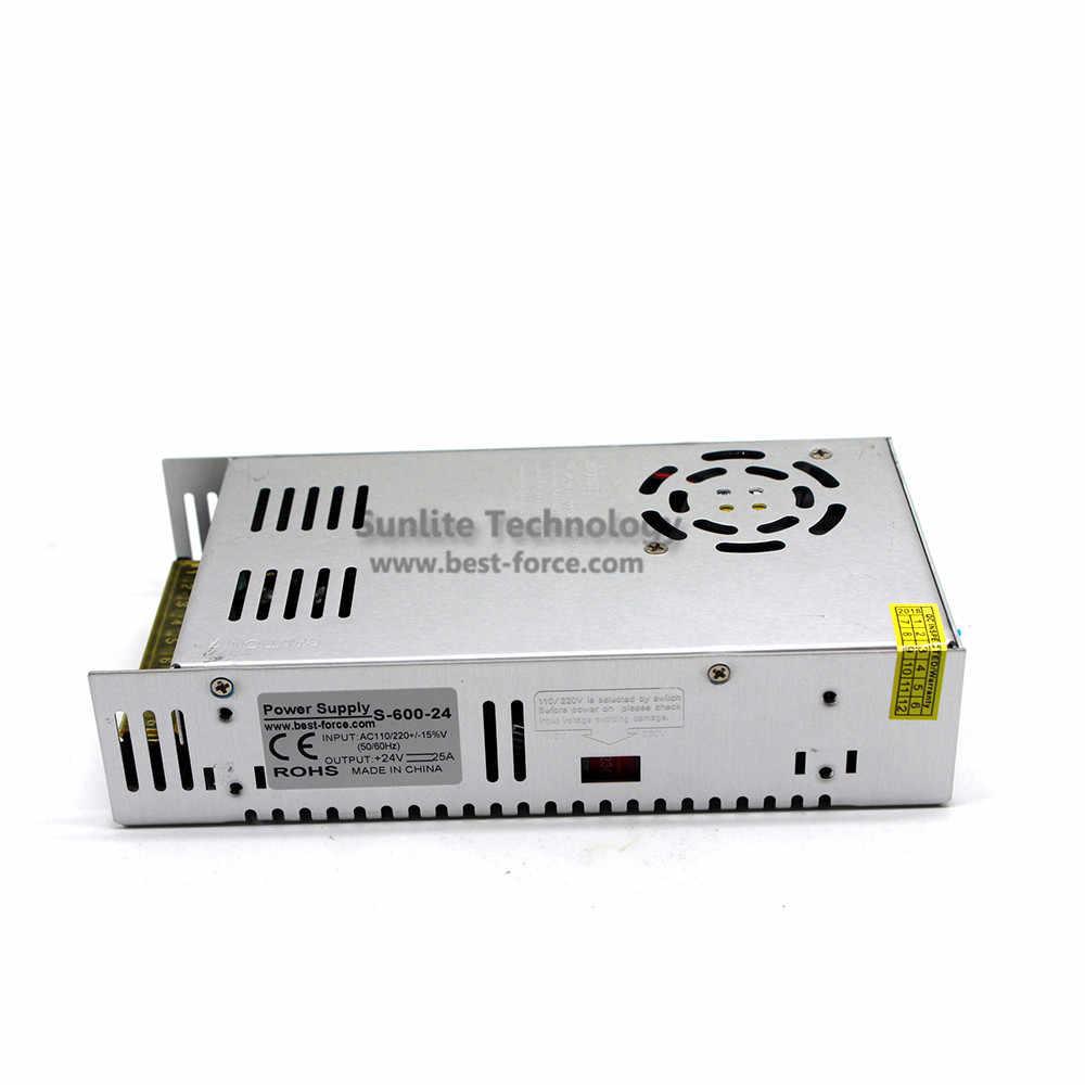 DC24V 25A 600 W Power Supply Led Driver Transformer 110 V 220 V AC ke DC 24 V Power Adapter untuk strip lampu CNC CCTV 3D Printer AV TV