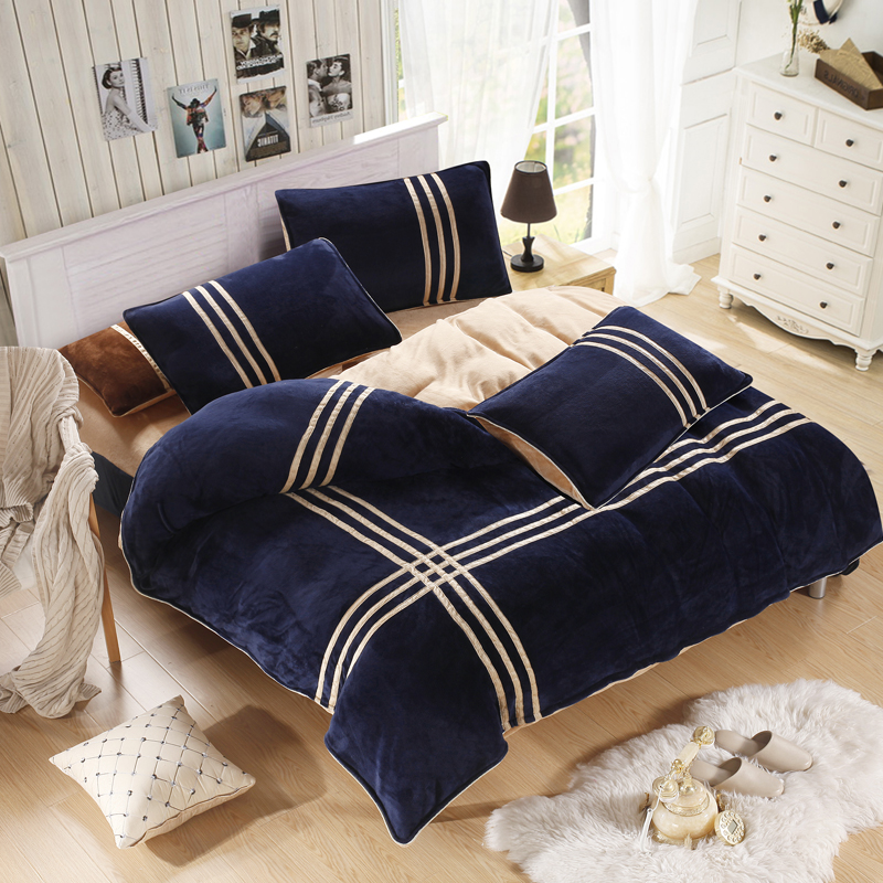 Winter warm striped quilt cover Coral velvet sports bedding sets duvet cover set Queen king size new bedding set
