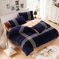 Winter warm striped quilt cover Coral velvet sports bedding sets duvet cover set Queen king size new bedding set