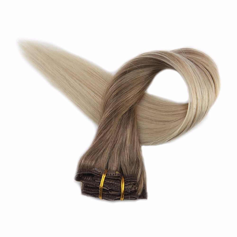 Полный блеск волос клип Омбре Цвет #8 пепельно-коричневый выцветает до 60 платиновый блонд 7 шт 50 г 100% настоящие Remy человеческие волосы клип в наращивание