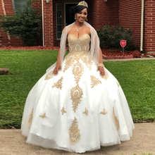 9ddd8afdac White Gold Appliques Ball Gown Quinceanera Dresses Sweetheart Corset Back  Floor Length Sweet 15 Dress Long Prom Party Gown 2019
