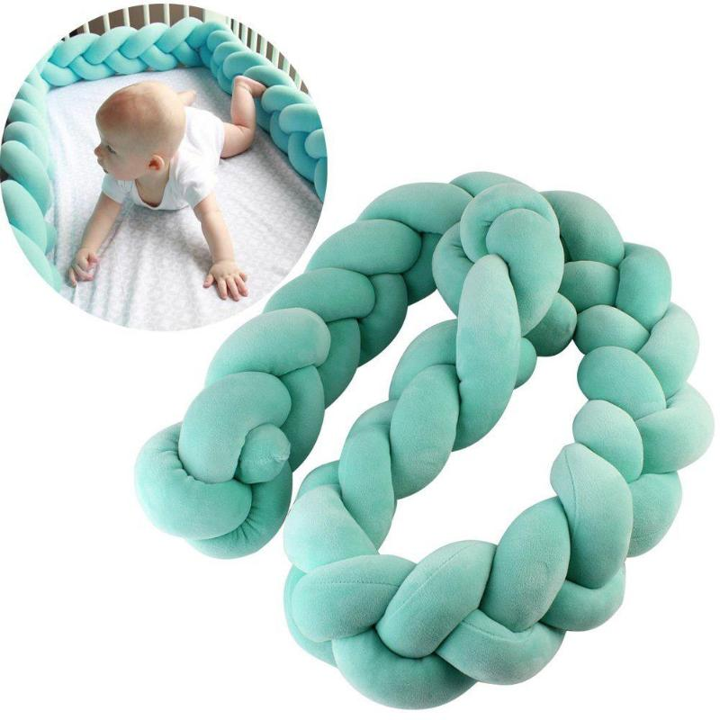 150cm 200cm Baby Bed Bumper Handmade Knot Design Newborn Baby Crib Protector Cot Bumpers Bedding Accessories Infant Room Decor Детская кроватка