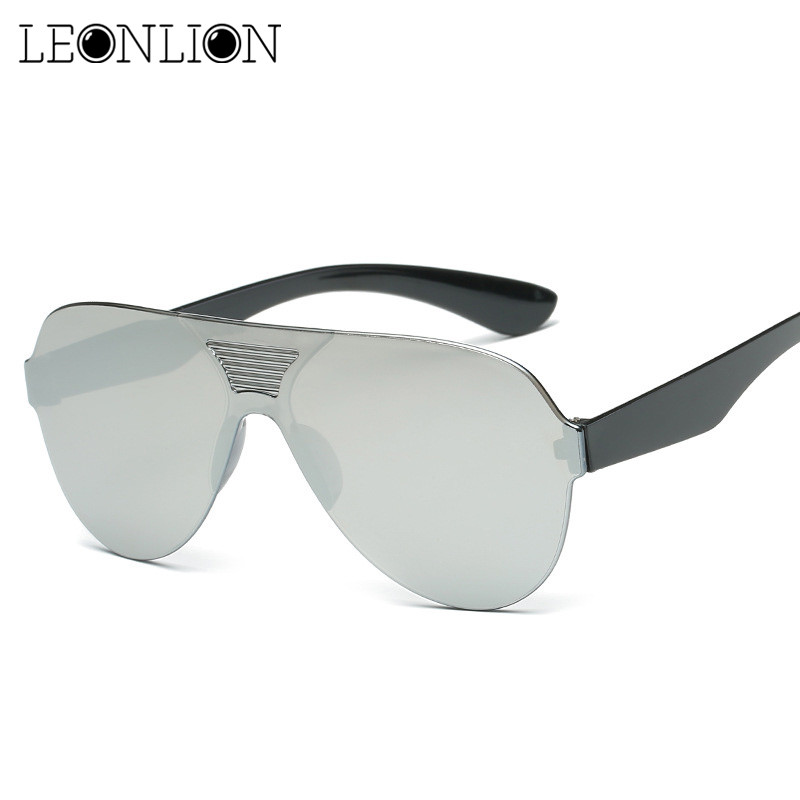 LeonLion 2019 One-piece Classic Sunglasses Women/Men Candies Color Driving Sun Glasses Brand Designer Retro Oculos De Sol