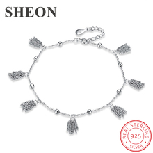 SHEON New 925 Sterling Silver Anklet Woman Charm Pendant 100% Silver Foot Chain Ankle Bracelet Barefoot Sandals Summer Jewelry sheon 100