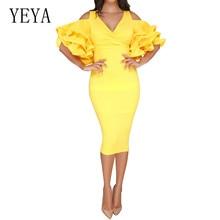YEYA Women Office Sexy V-neck Ruffle Decoration Bodycon Pencil Dress Ladies Yellow Dresses Summer Elegant Celebrity Party