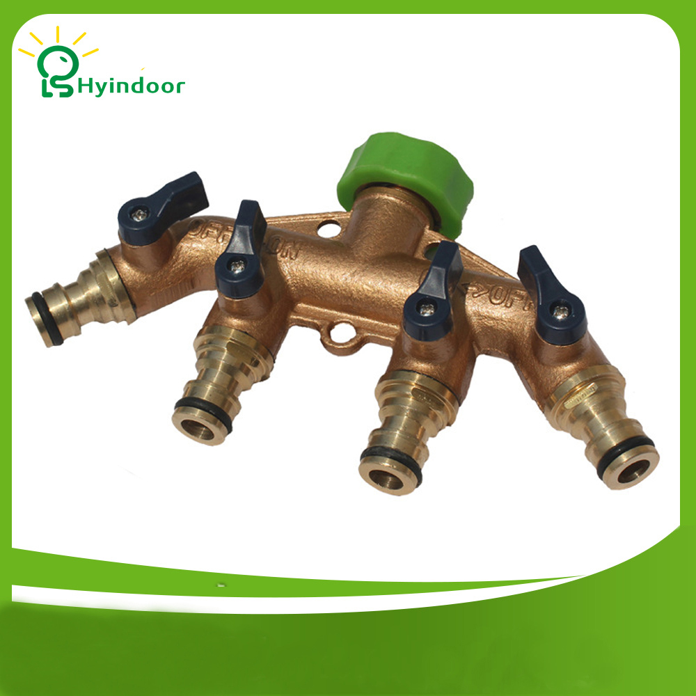 Hyindoor Brass 4 Way Tap Connector Splitter Connect Adaptor Pipe Switcher Nozzle Garden Watering Irrigation Supplies