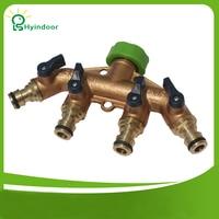 Hyindoor Brass 4 Way Tap Connector Splitter Connect Adaptor Pipe Switcher Nozzle Garden Watering Irrigation Supplies