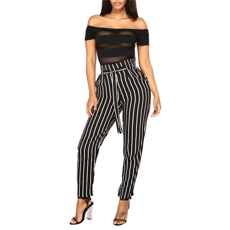 Trousers Women Office-Pants Elastic Stripe Female High-Waist Summer Casual Bowtie Daily title=