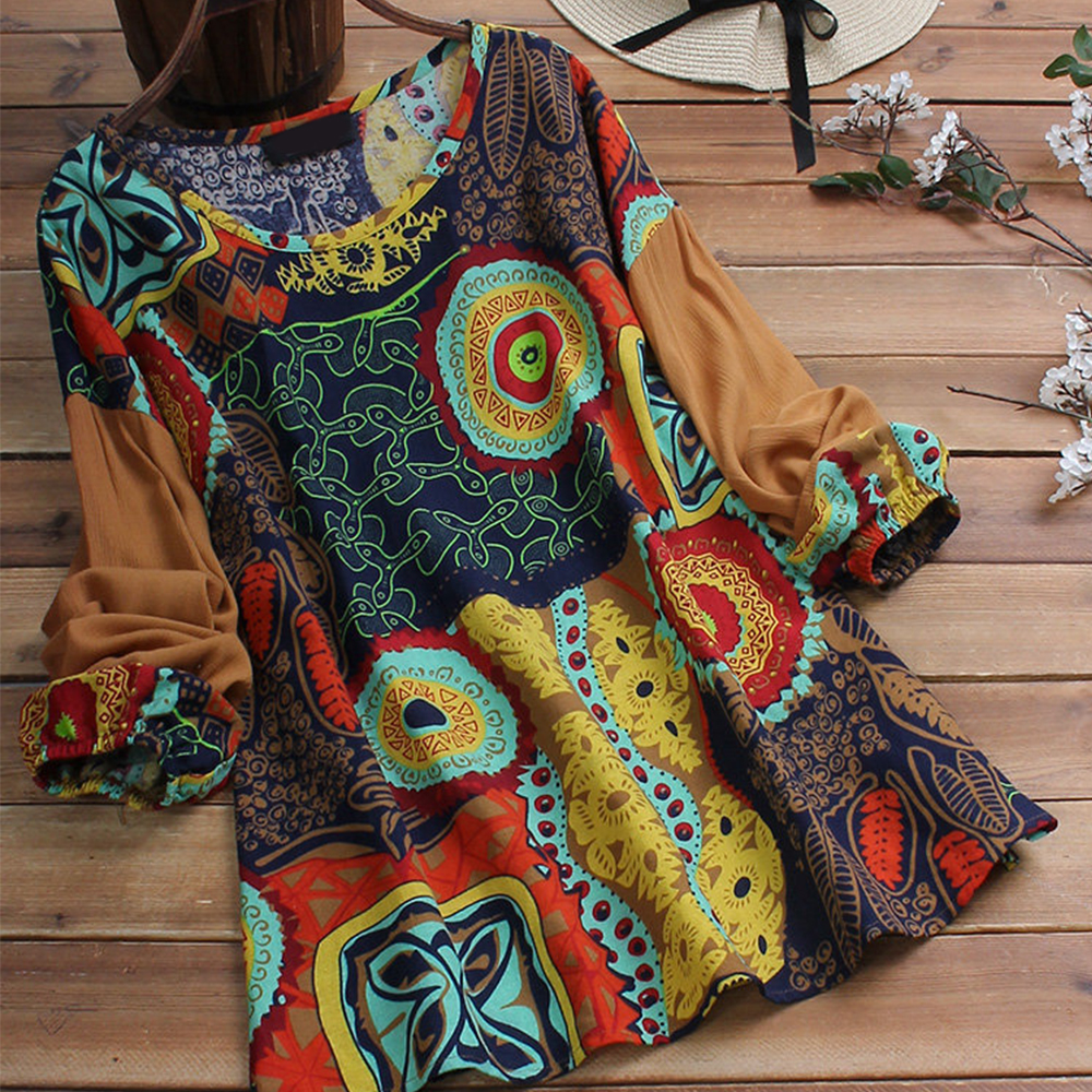 Cotton Linen   Blouses     Shirts   Loose Plus Size Top Woman O Neck Puff Long Sleeve Womens Tops And   Blouses   Retro Print Female Tunic