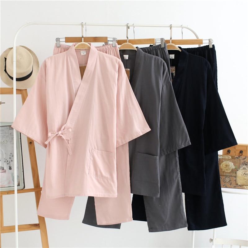 Summer Men's And Women's 100% Cotton Gauze Pajamas Sets Retro V-neck Pijama Kimono Suit Couple Sleepwear Nightly Home Clothing