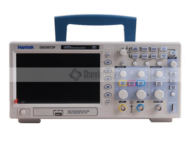 NEW Hantek DSO5072P Digital Oscilloscope 70MHz 1GSa/s 7.0-inch WVGA(800x480) hantek dso5072p digital storage oscilloscope 70mhz 2 channels 1gsa s record length 40k usb 2ch