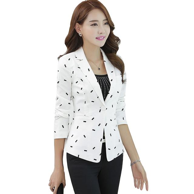 2d2f53906549e Coréenne Pois Blanc Blazer Femmes 2017 Automne Mince Manteau Casual Vert Veste  Noir Femelle Costume Dames