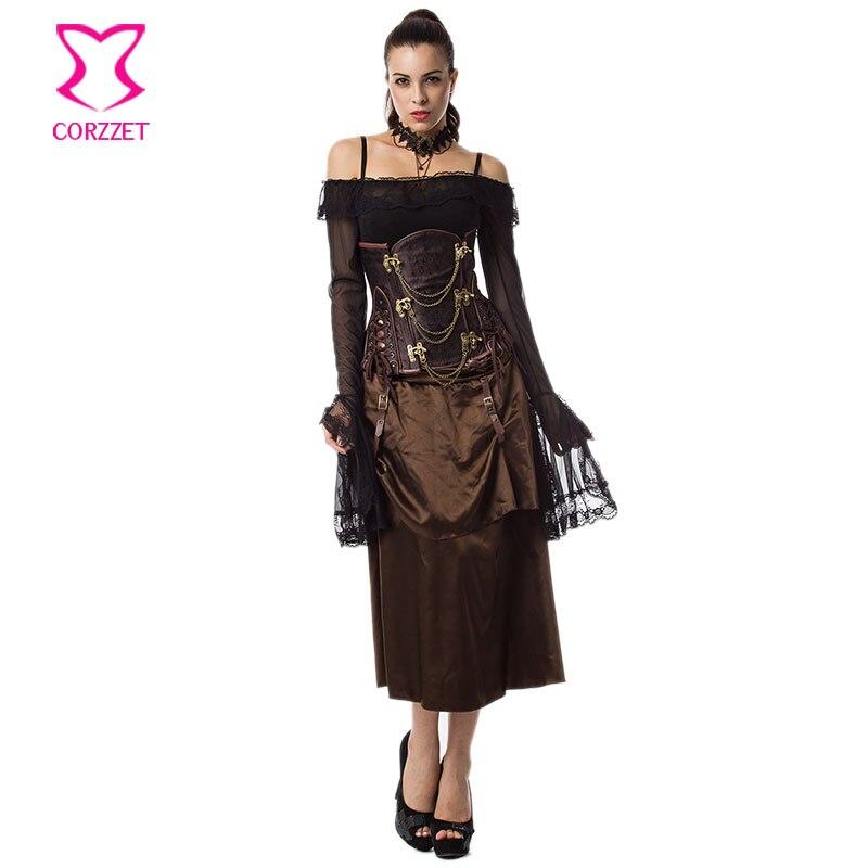 Brun chaud Sexy Espartilhos E Corpetes Corsets et Bustiers gothique vêtements en acier désossé sous le buste Corset robe Steampunk Costume