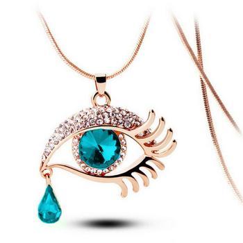 OTOKY 2018 moda zincir kolye kristal sihirli göz gözyaşı damlası kirpik kolye uzun kolye Collana takı Dropship Mar13