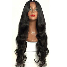Bombshell Black Long Body Wave Synthetic Hair Lace Front Wig Glueless Heat Resistant Fiber Hair Natural Hairline For Women Wigs