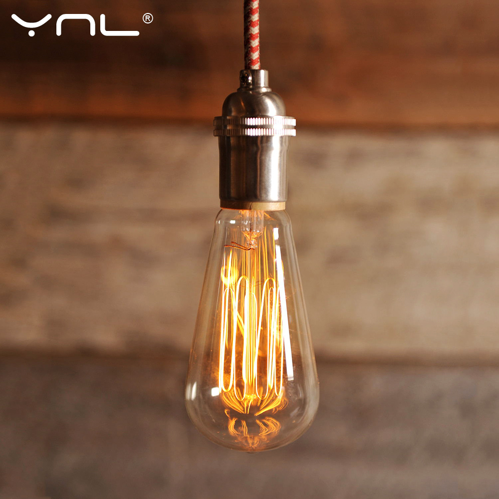 YNL 40W 220V Retro Edison Bulb Antique Vintage Lamp E27 Filament Bulb Chandelier Pendant Lights Holder Incandescent Bulb
