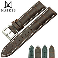 MAIKES New Product Durable Genuine Leather Watch Band Black Watch Strap Stainless Steel Buckle For Classic