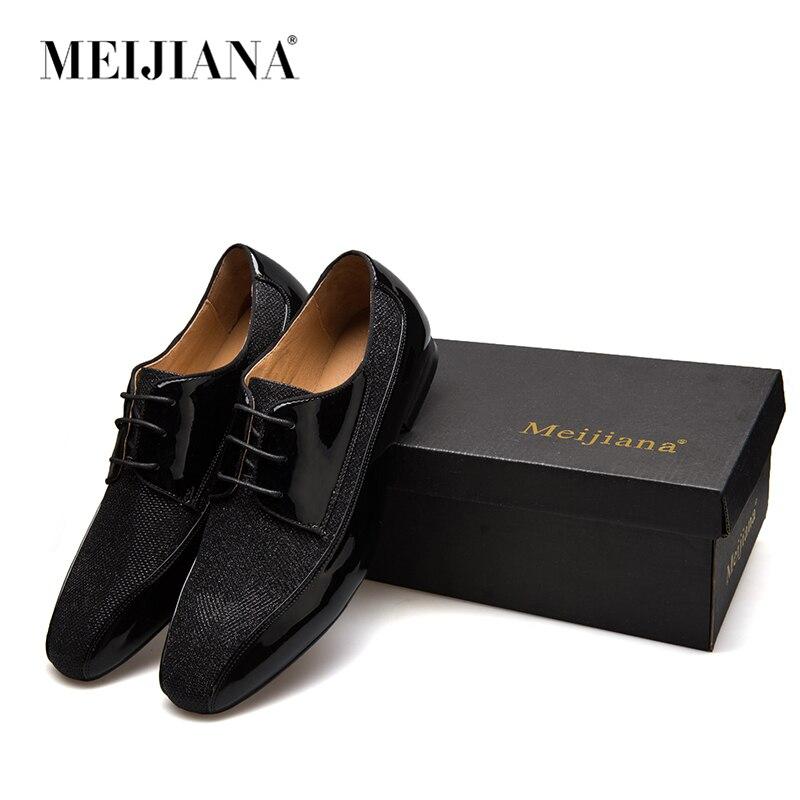MeiJIaNa fait à la main en cuir et paillettes et chaussures formelles pour hommes chaussures Oxford pour hommes en cuir véritable-in Chaussures d'affaires from Chaussures    2