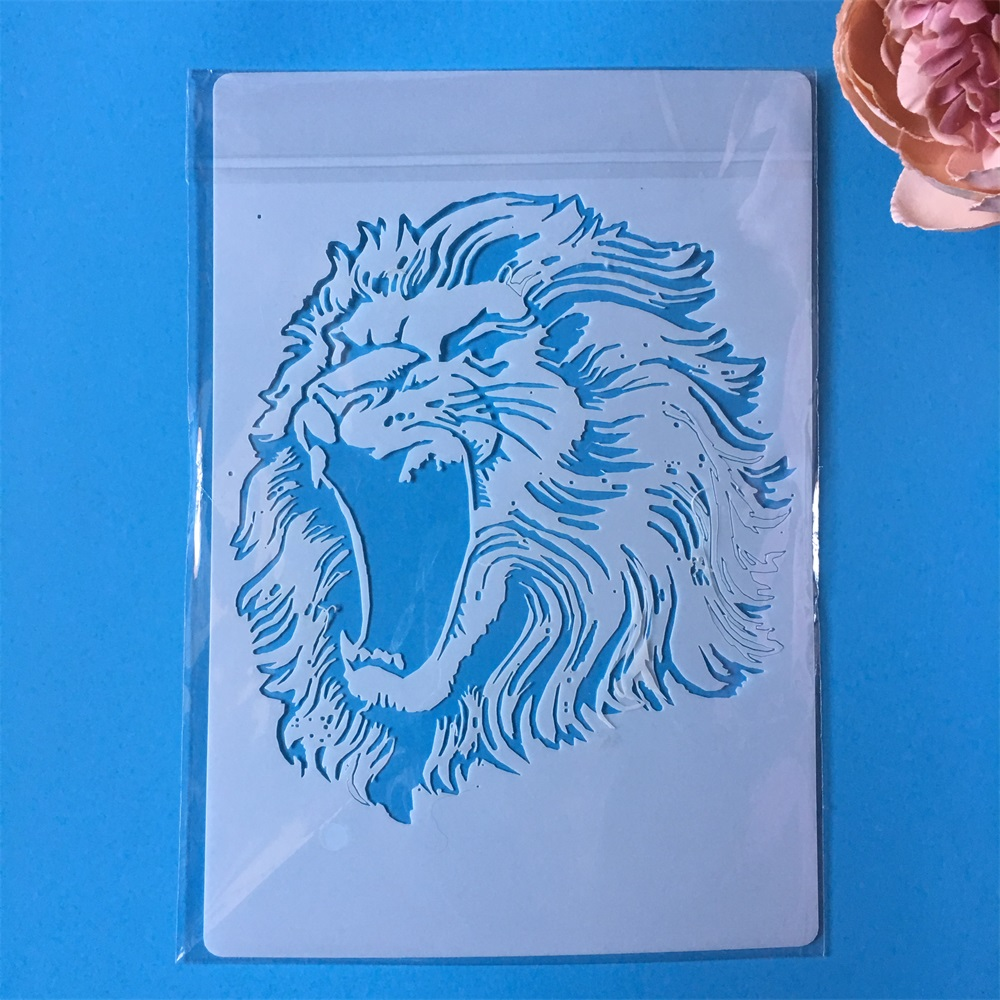 Hot A4 Lion DIY Layering Stencils Painting Scrapbook Coloring Embossing Album Decorative Paper Card Template