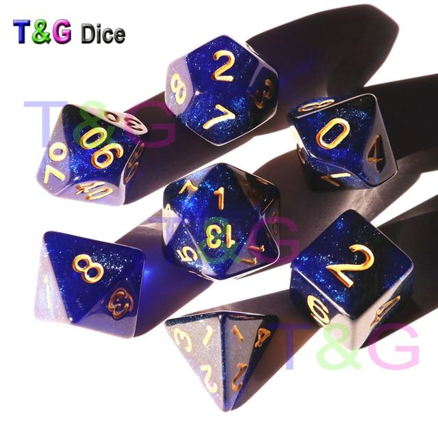 T & G Criativo Conjunto de D4-D20 com Real Misterioso Universo Galaxy Dice Azul Mix Preto, glitter Em Pó ForTRPG, DND Board Game