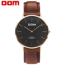 DOM Watches Men Top Luxury Brand Black Silver Leather Quartz Wrist Men Watch Waterproof Fashion Casual Male Dress Clock M-36 dom men s watches top brand luxury waterproof mechanical stainless steel watch male business clock wrist watch for men hot m 57