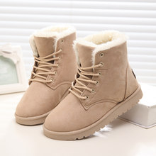 Women Boots Winter Warm Plush Snow Boots Women 2018 New Women Flat Shoes Plus Size Lace-Up Fur Suede Ankle Boot Female Shoes 46(China)