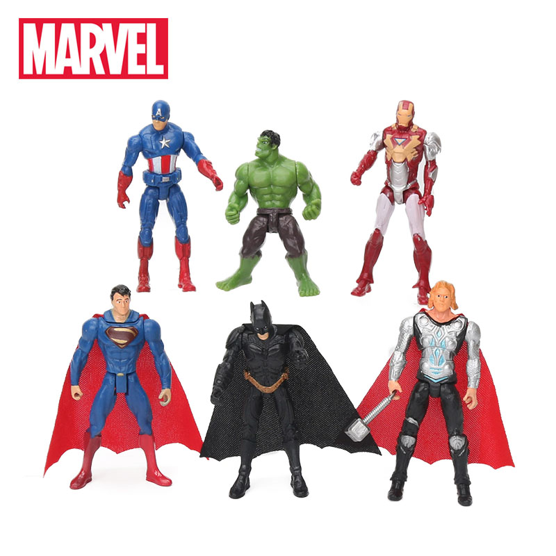 6pcs 10.5cm Marvel Toys The Avengers Figure Set Superhero Batman Thor Hulk Captain America Action Figure Collectible Model Doll(China)