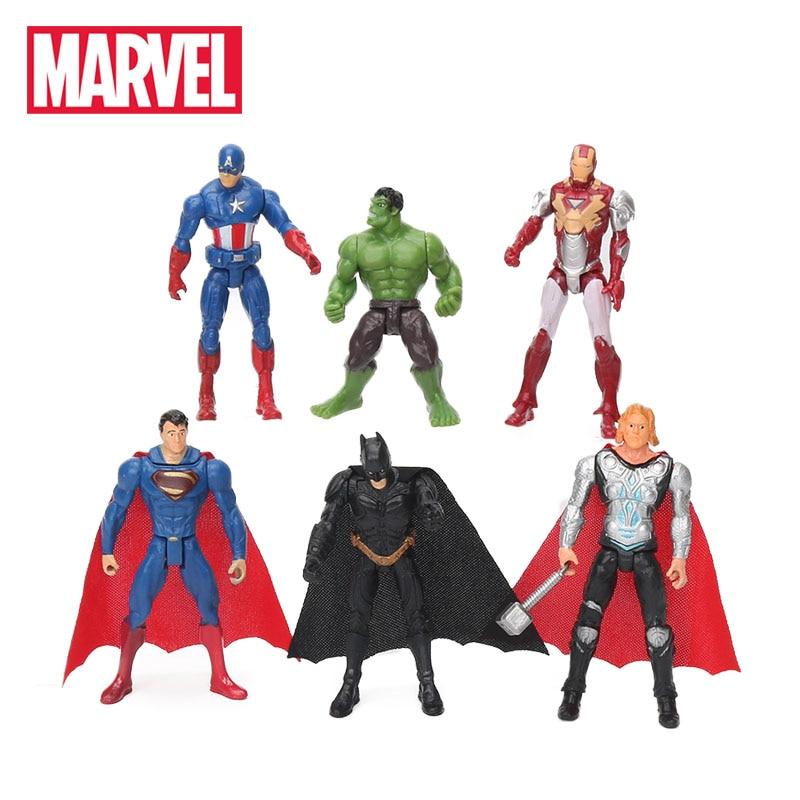 6pcs 10.5cm Marvel Toys The Avengers Figure Set Superhero Batman Thor - სათამაშოების ფიგურები