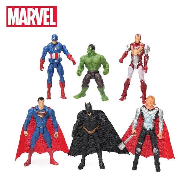 6 pcs 10.5 centímetros Brinquedos Marvel The Avengers Figura Conjunto de Super-heróis Batman Hulk Thor Capitão América Figura de Ação Collectible Modelo boneca