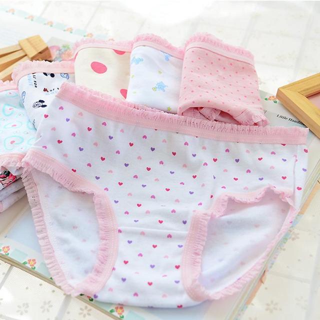 5PCS Kids Girls soft underwear Short Briefs Lace up Cotton Panties children underwear child cute shorts Underpants age 0-10Y 1