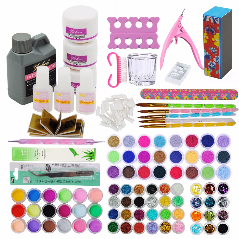 Nail Art Kit 78 Color Glitter Acrylic Powder Glitter Clipper File Nail Art Tips Glue File Set Acrylic Nails Manicure Set