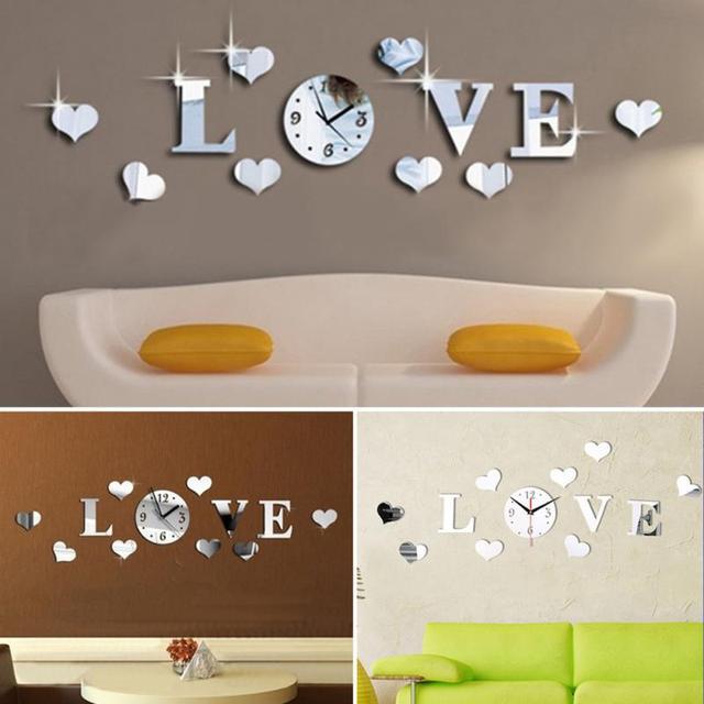 3D Kristallspiegel Diy Wandaufkleber Haushalt 'Love' Wort Bewegung