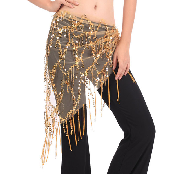 New Style Belly Dance Costumes Sequins Tassel Indian Belly Dance Hip Scarf For Women Belly Dancing Belt 2018