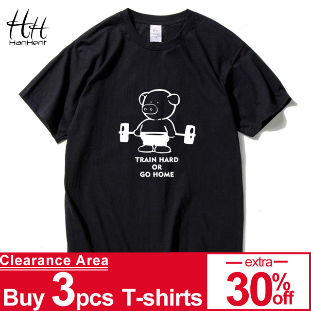 1daa77c4a792b HanHent Fitness Pig Printed T Shirt Men Train Hard Or Go Home Cotton Casual  T-Shirt Sportswear Animal Top Tees Fitness Clothing