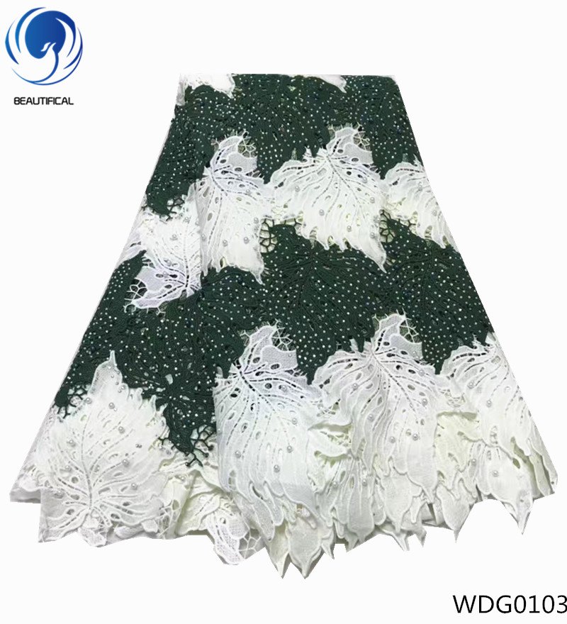 BEAUTIFICAL african cord lace fabrics flower embroidered lace for daily dress beaded guipure lace fabric embroidery WDG01BEAUTIFICAL african cord lace fabrics flower embroidered lace for daily dress beaded guipure lace fabric embroidery WDG01