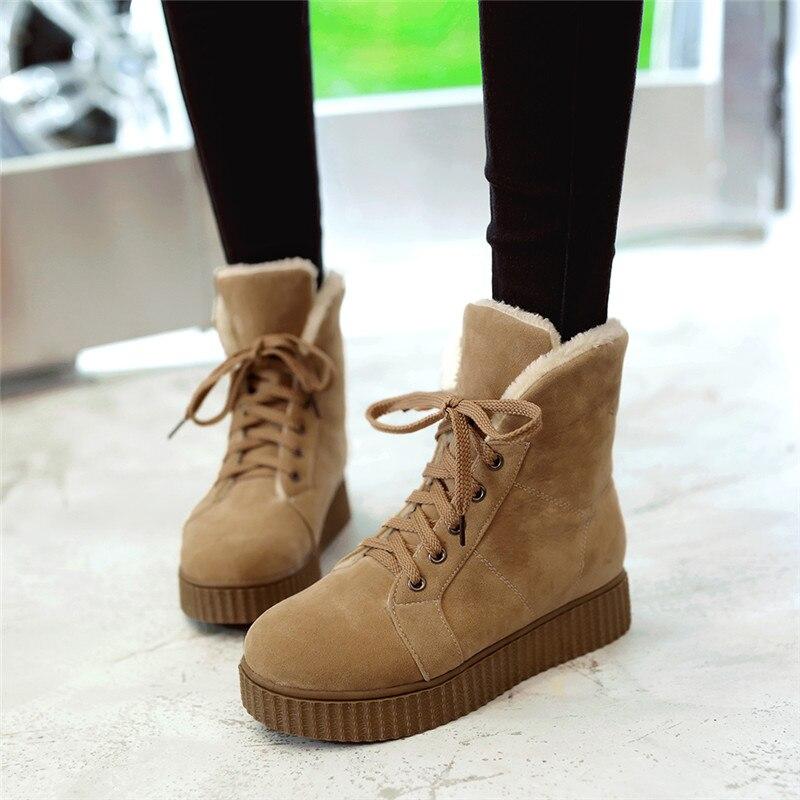 Dames Ymechic La Femmes Jusqu à Dentelle Taille Neige Bottes Punk  Chaussures Goth Rock forme Plus Grande Cheville noir Plate Hiver ... 90f449aac2af