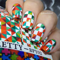 BORN PRETTY Water Decals Colorful Checked Puzzle Design 2 Patterns/Sheet Transfer Sticker BPY02