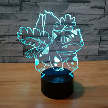 3D Atmosphere Lamp 7 Color Changing Visual illusion LED Decor Lamp Anime Bulbasaur Home Table Decoration for Child
