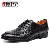 Mejor Marca REETENE, Zapatos de cocodrilo de alta calidad para hombres, Zapatos de cuero genuino para hombres, Zapatos Oxford para hombres, Zapatos de vestir para hombres