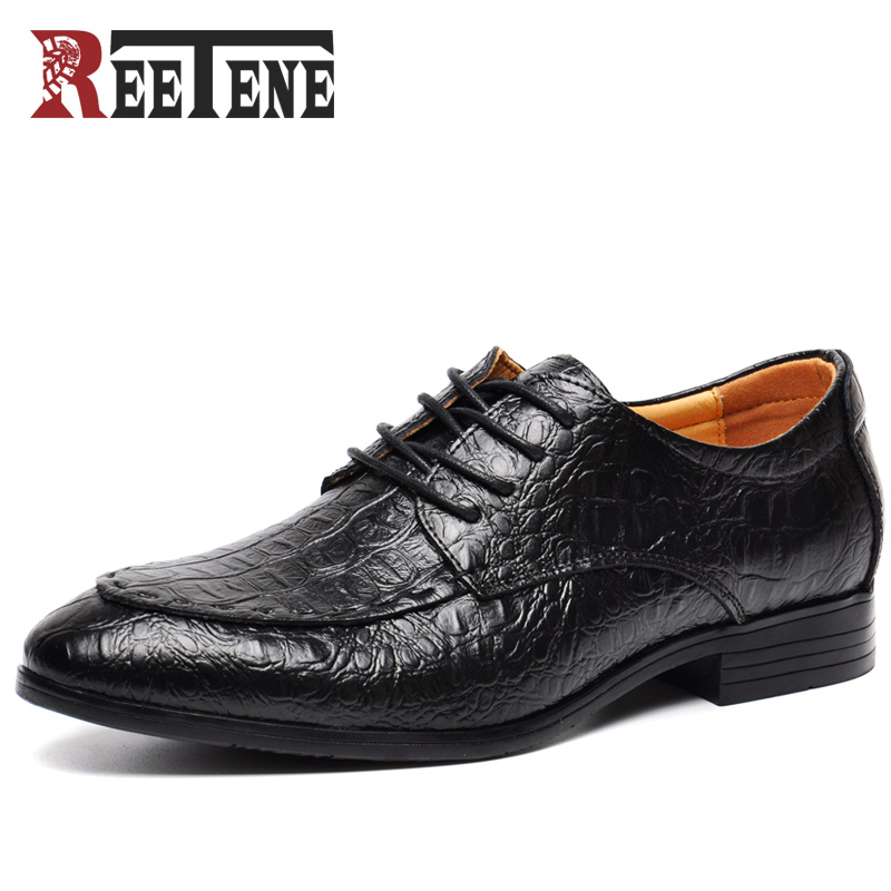 REETENE Brand High Quality shoes Crocodile Men,Genuine Leather Men Shoes Oxford Shoes For Men,Dress Shoes Men Zapatos high quality men shoes crocodile genuine leather flat shoes business luxury wedding mens leather loafers oxford zapatos hombr