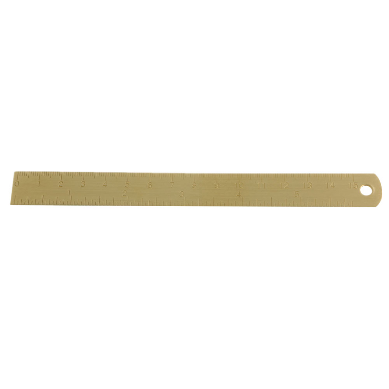 NoEnName_Null High Quality Brass Outdoor Brass Ruler Bookmark Double Scale Cm&Inch Digital For Traveler Notebook