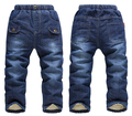 SK068 Warm fleece jeans for babies boys girls KK-Rabbit children winter thick pants children jeans pants suits retail