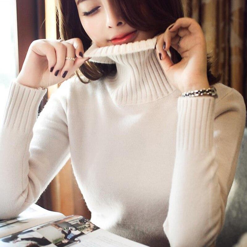 Del diseño del cortocircuito de las mujeres de cuello alto suéter de 2017 nueva